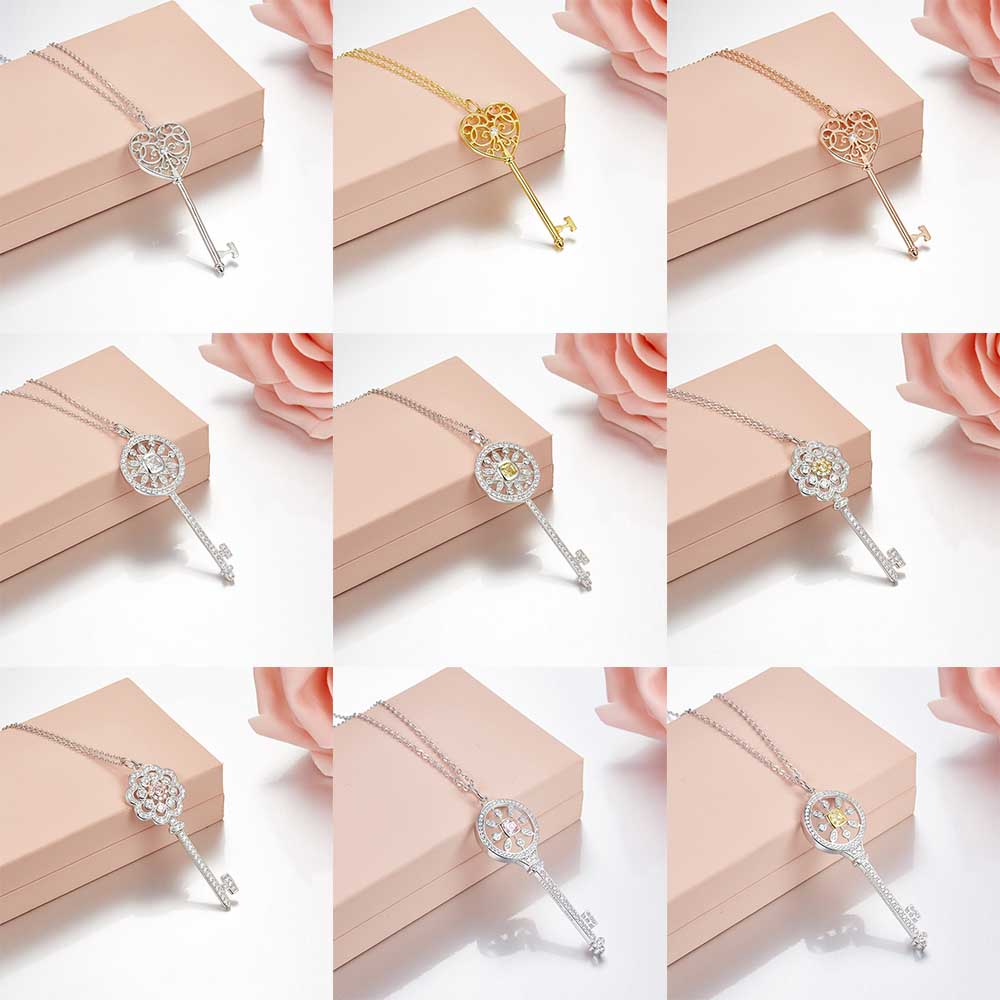 Tiff 100% 925 Sterling Silver Crystal Key Necklaces Clearly Sized Lock Pendant Girls Gifts tiff 100