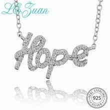 L& zuan письмо Hope Shaped 925 стерлингового серебра подвески для женщин белые кубические цирконы проложить ожерелье с серебряными цепочками