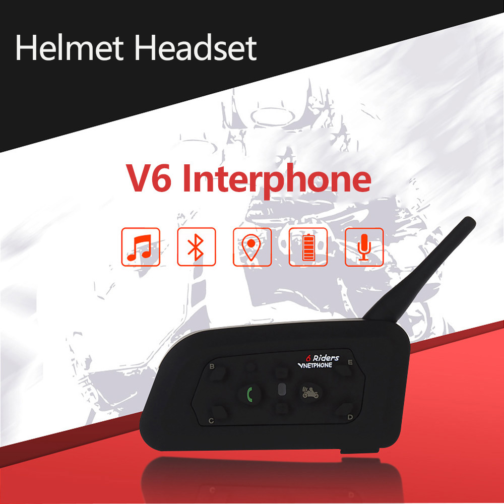 Bluetooth Helmet Headsets Intercom With Microphone for 6 riders Wireless Touring Accessories Interphone MP3 V6 Motorcycle 2019