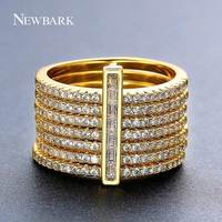 NEWBARK New One Stacking Ring Set Including 7Pcs Round Rings Nondetachable Inlaid CZ Stone Classic Fashion
