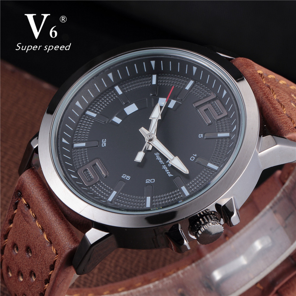 Hot Fashion Watches Men Quartz Watch Hour Clock Man Brown Leather Band Military Army Sport Waterproof V6 Wristwatch Male Relogio onlyou men s watch women unique fashion leisure quartz watches band brown watch male clock ladies dress wristwatch black men