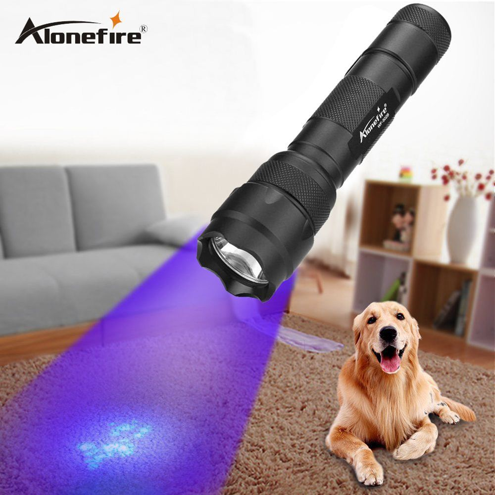 AloneFire 502B LED UV Flashlight Purple Violet 395nm Light Focus Light Lamp Uesd By 18650 Battery