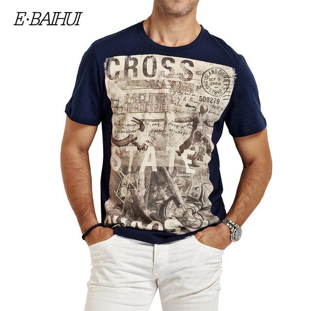 2017 Summer New Brand Fashion Men Cotton Motorcycle Printed Slim T-Shirt