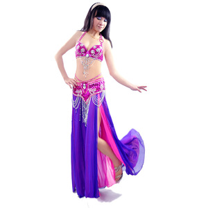 Image 2 - 새로운 섹시한 듀얼 컬러 밸리 댄스 스커트 전문 Bellydance 드레스 세트 Bellydancing 의류 성능 의상: 브래지어 & 벨트 & 스커트
