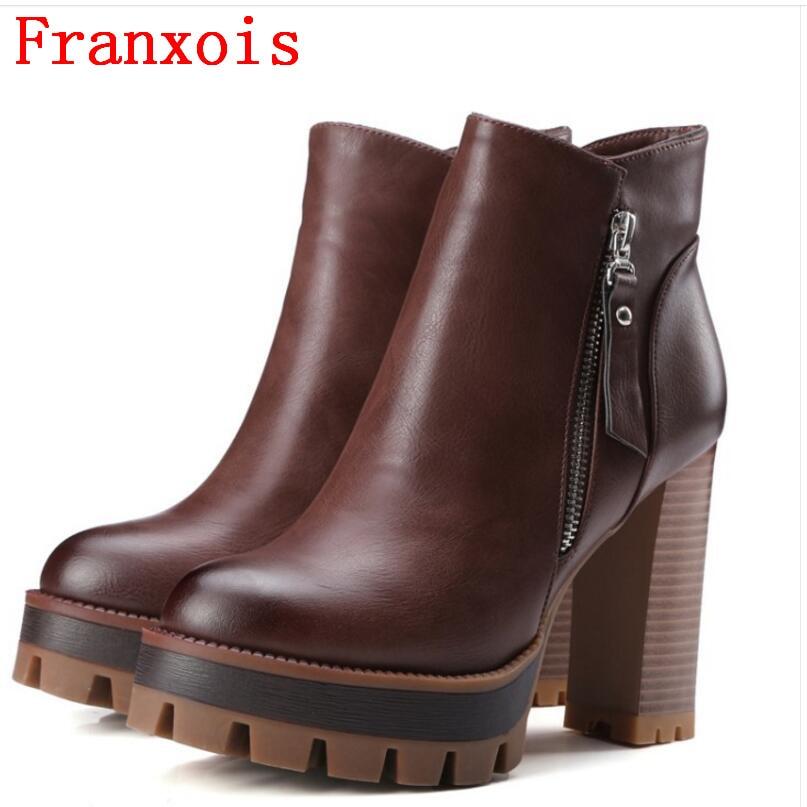 Franxois Sexy Genuine Leather Women Ankle Boots Designer Fashion Platform Thick High Heels Double Zipper Women Martin Boots