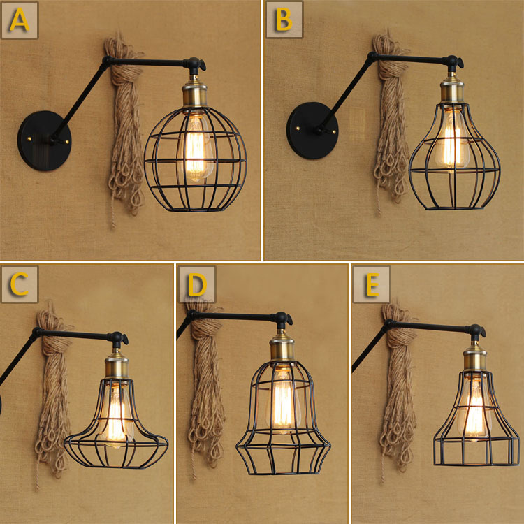 American Country Loft Style Black Iron Frame Wall Lamp Retro Long Arm Vintage Asile Light Coffee Shop Wall Light Free Shipping