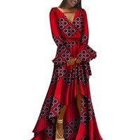 2019 Autumn African Embroidery Dashiki Dress Bazin Riche Long Sexy Dress Africa Wax Print Dresses for Women Plus Size