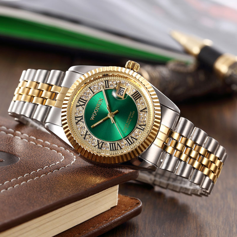 2017 WOONUN Mens Watches Top Brand Luxury Green Dial Quartz Diamond Wrist Watches For Men Gold Watch Men Relogio Masculino woonun top brand luxury gold watches men classic man clock rhinestone crystal quartz wrist watches for men thin mens watches