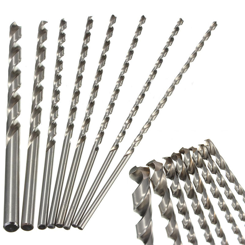 1pc 4-10mm HSS Twist Drill Bit Extra Long 200mm Straight Shank Drill Bit For Metal Plastic Power Tool 13pcs lot hss high speed steel drill bit set 1 4 hex shank 1 5 6 5mm free shipping hss twist drill bits set for power tools
