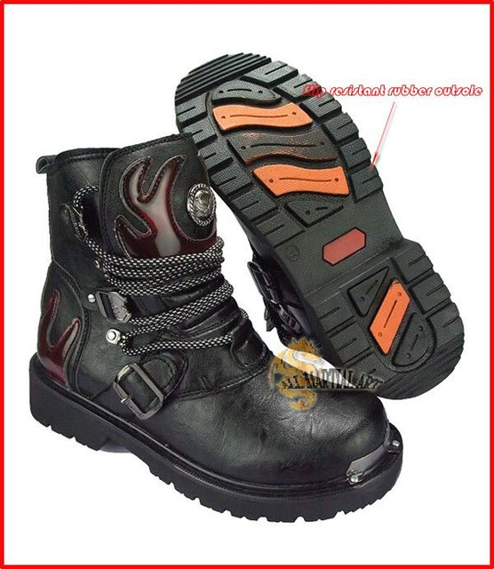 Free Shipping Fashion Rock Punk Gothic Style Boots Combat Boots Motorcycle Biker Boots Size 38-44 Black (FWMB012) !!