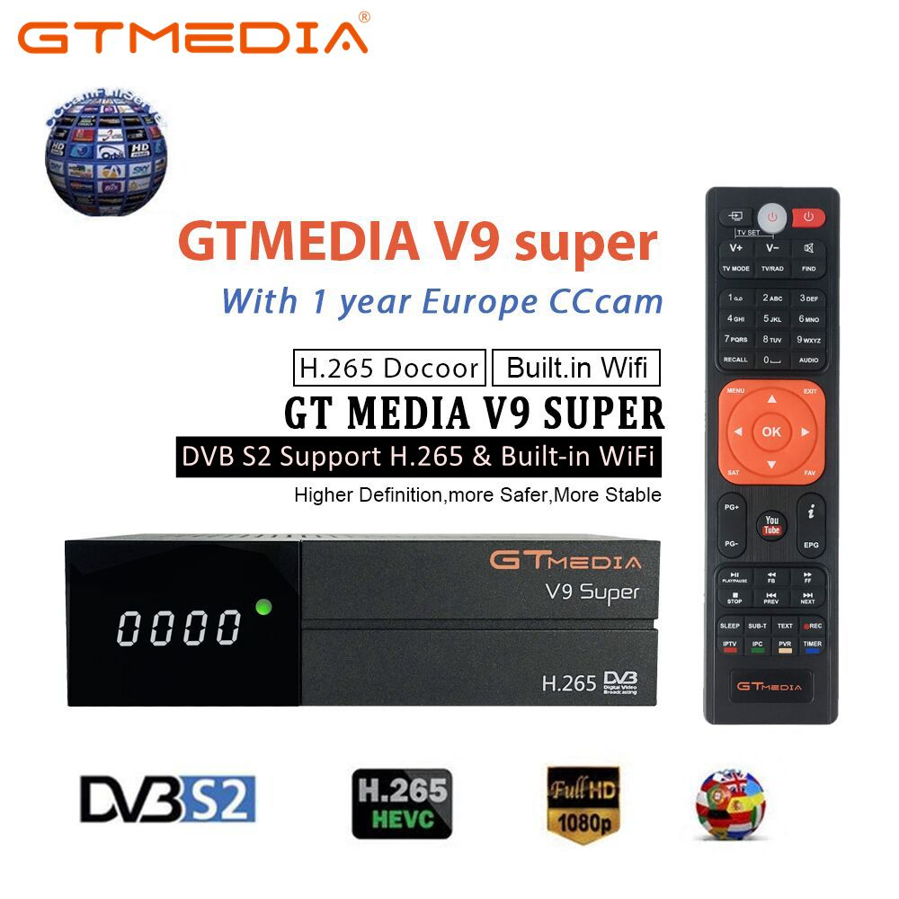 Receptor satélite super de gtmedia v9 DVB-S2 h.265 wi-fi embutido com 1 ano espanha europa cccam gtmedia v8 nova v9 super receptores