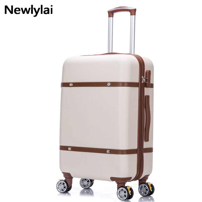 Retro luggage female suitcase students hard pull rod box universal wheel travel bags password box JJ170092