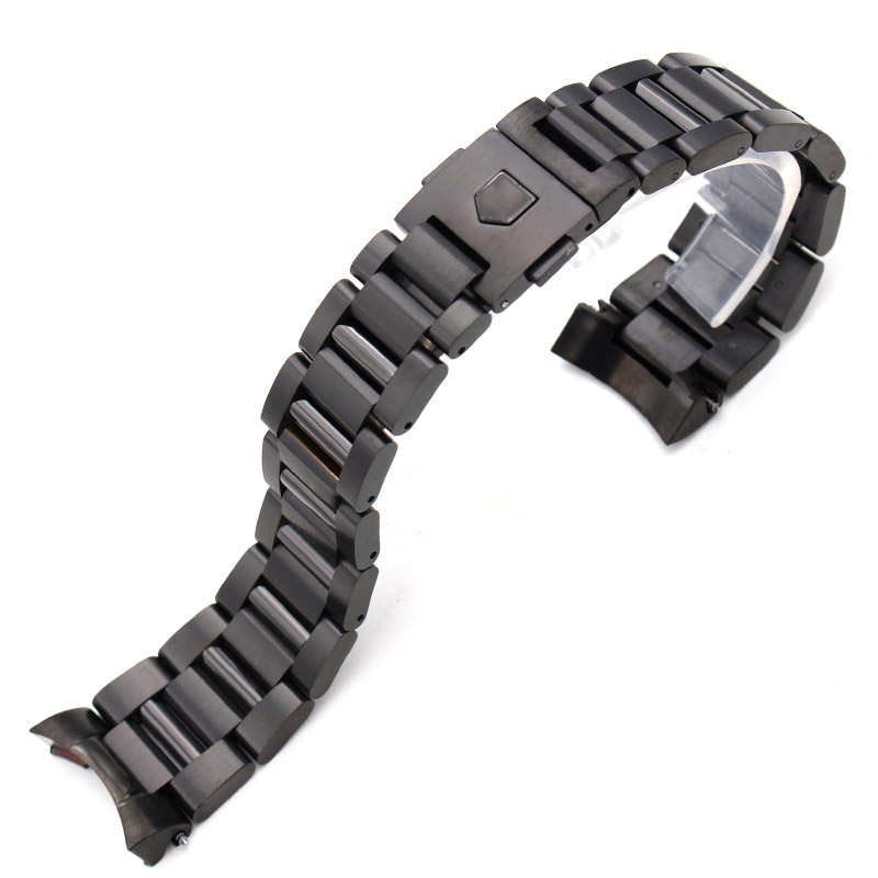 22mm Stainless Steel Watch Band Bracelet Silver Mens Luxury Replacement Curved End Watch Strap Metal Watchbands Accessories luxury fashion male stainless steel 20mm strap watch accessories solid watch silver steel bracelet clock watch accessories