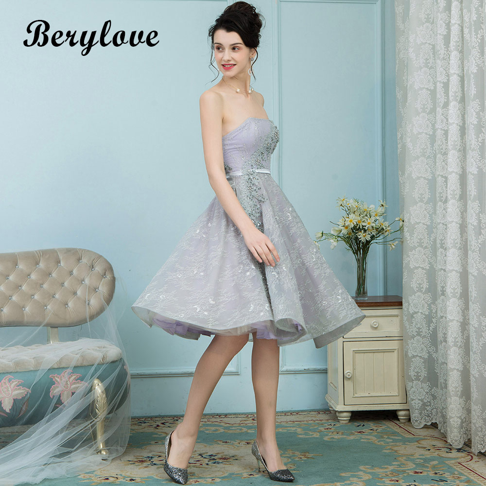 BeryLove Short Knee Length Grey Lace Prom Dresses 2018 Sliver Strapless Prom  Gowns Special Occasion Party Dress Graduation -in Prom Dresses from  Weddings ... 2d13474e047a