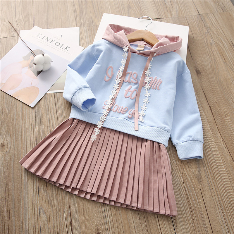 2018 Cute Spring Baby Girls Dress Hooded Letters Children Draped Korean Style Dress Kids Clothes Hot Sales