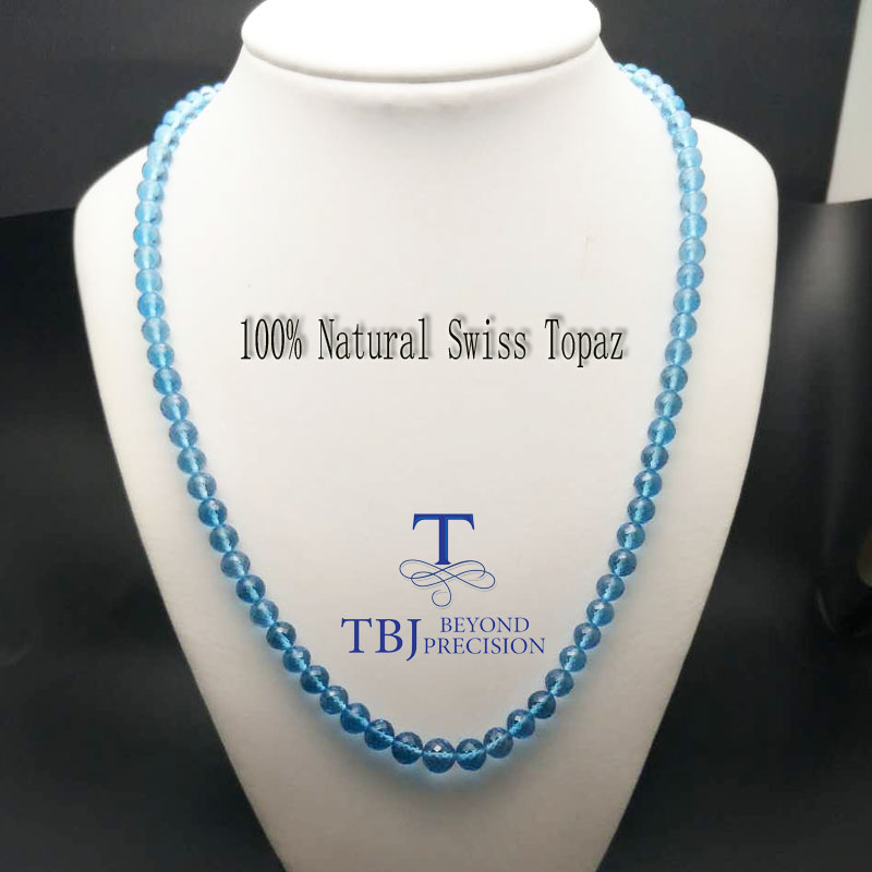 TBJ ,100% Natural swiss blue topaz neacklace with 925 sterling silver clasp ,best gift for mother's d with gift box
