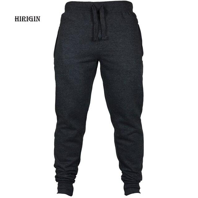 HIRIGIN Men's Joggers 2017 Brand Male Trousers Casual Pants Sweatpants Jogger Black Casual Elastic cotton Fitness Workout pants
