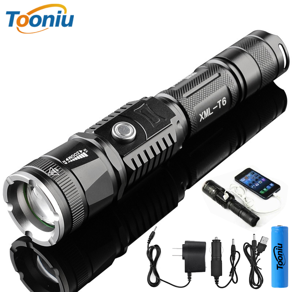 Powerful LED Flashlight Outdoor 5 Lighting Modes LED Torch Zoomable Waterproof Lamp By 18650 Battery Used For Camping, Etc.