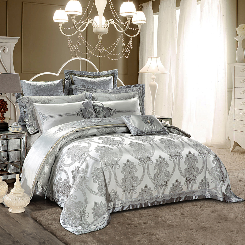 2018 European Silver Bedding Set Silk Cotton Embroidery Jacquard Queen King Size Duvet Cover Flat Sheet Bedspread Pillowcases