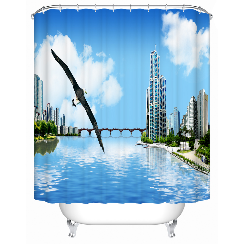 The Contemporary City That Has Large Building Bridge River 3d Print Water Resistant Waterproof Fabric Decorative Shower Curtain