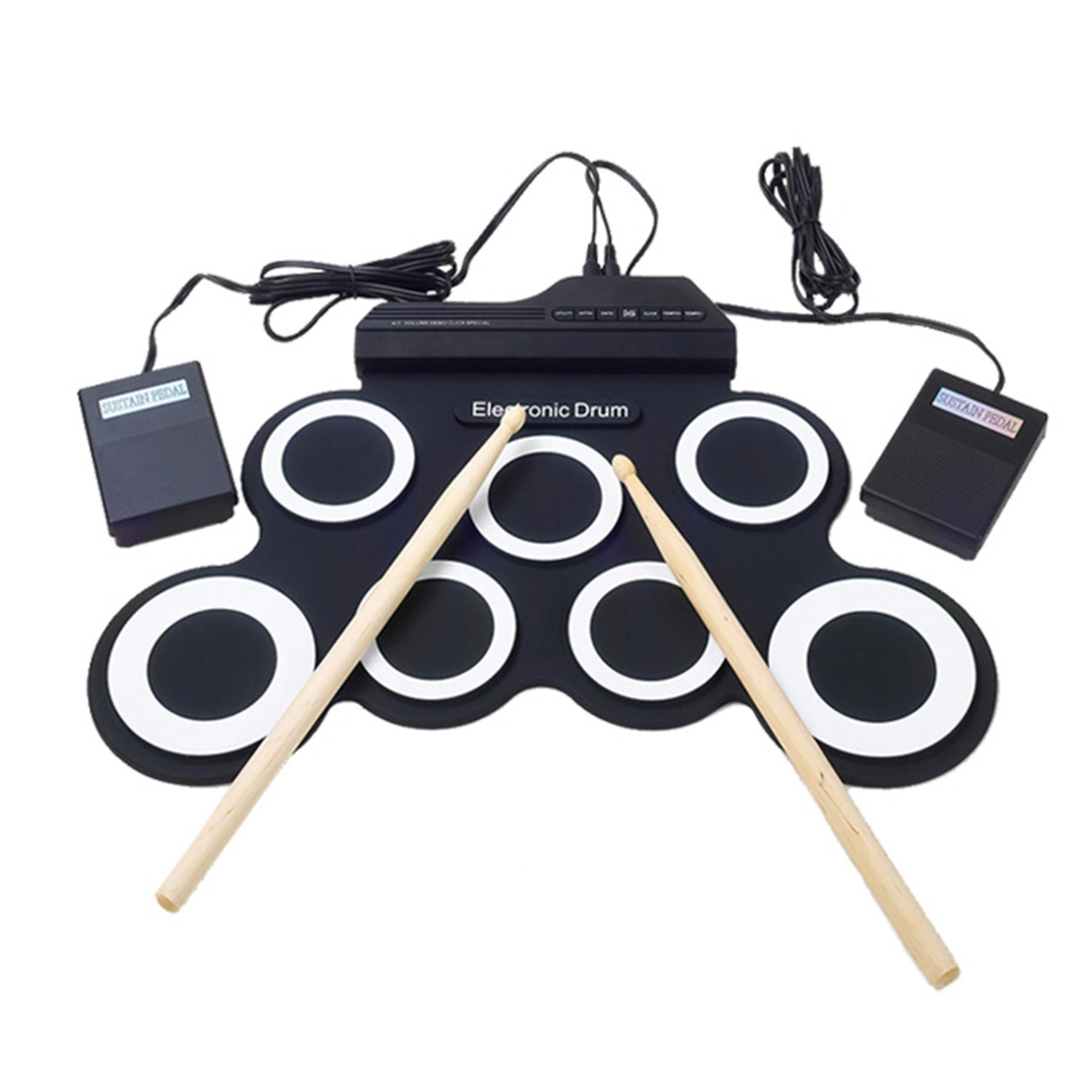 HLBY Electronic Drum Set 7 Electronic Drum 7 Tone 8 Demo Song 7 Drum Pads Metronome