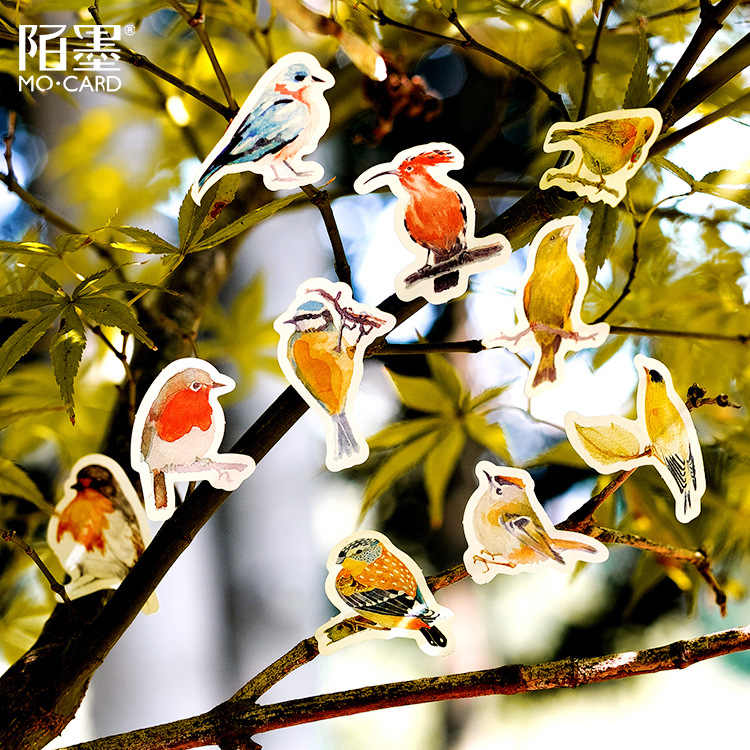 LOLEDE nuevas 45 unidades por juego, pegatinas de papelería de pájaro pequeño, etiquetas adhesivas hechas a mano Kawaii para diario, pegatinas de papel en escamas, papelería de Scrapbooking
