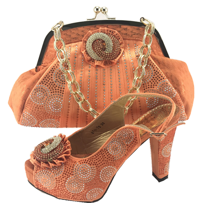Latest Orange Color Sales In Women Matching Shoes and Bag ...