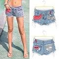 Envío Del Verano 2015 Moda Sexy Provocativamente Sidepiece Vendaje de Baja cortocircuito de la cintura Pantalones Cortos de Mezclilla Hembra Jeans Para Mujeres