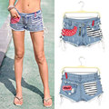 Free shipping Summer 2015 Fashion Sexy Provocatively Sidepiece Bandage Low waist short Denim Shorts Female Jeans For Women