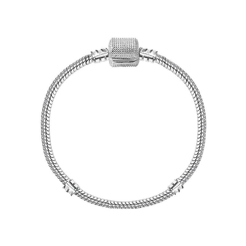 Новинка, браслет с подвеской из розового золота с Микки-Маусом, цепочка со змеей, подходит для Pan, базовые браслеты для модных женщин, бусины, сделай сам, ювелирное изделие - Окраска металла: NSL009