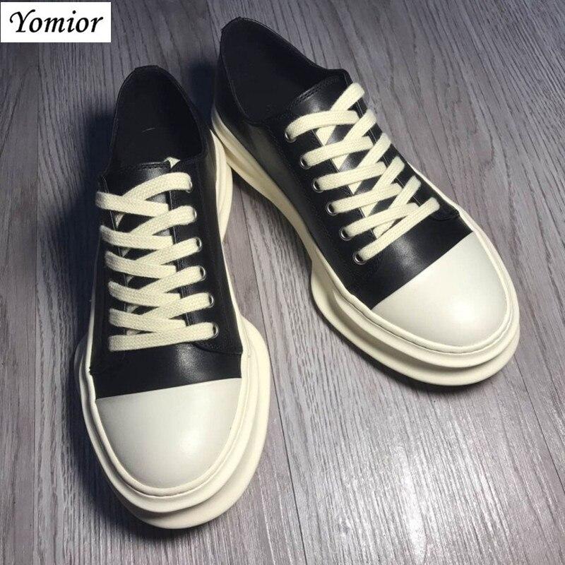 Yomior hecho a mano nuevo estilo primavera cuero genuino hombres zapatos Unisex moda Casual transpirable de lujo marca tendencia zapatillas de gran tamaño - 4