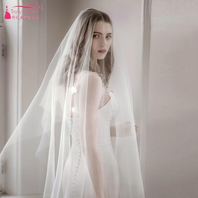 Real Simple Tulle White Ivory Wedding Bridal Veils Elegant Cheap Price In stock Vintage Blusher Veil Weddding Accessories DQG448