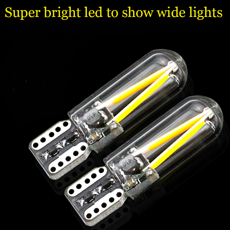 2 pcs Super bright Auto Light Source T10 LED 12V 24V Glass Cover COB Filament Car Clearance Bulb 194 168 W5W Car Styling