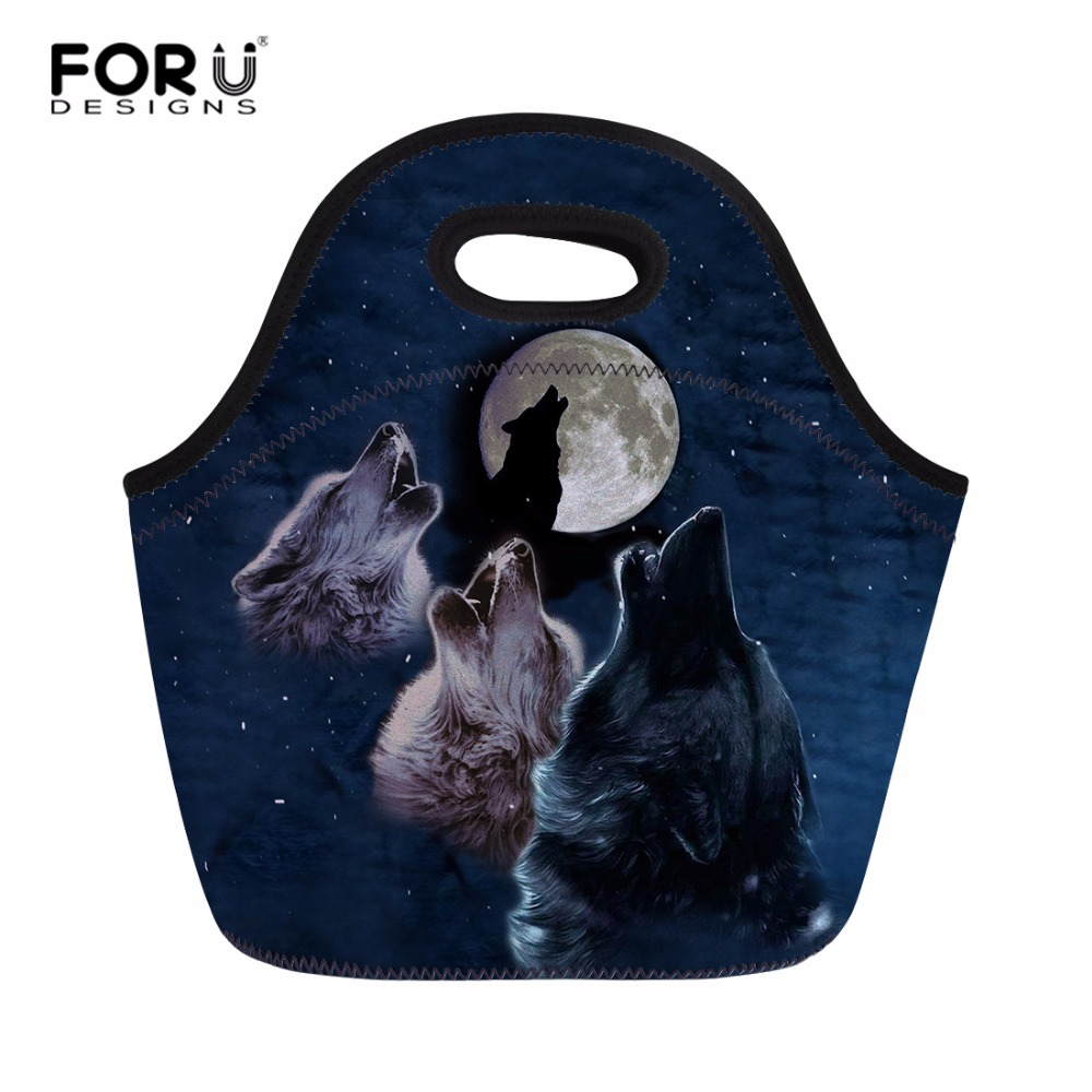 FORUDESIGNS Cool Wolf Printed Polyester Women Lunch Bag Thermal Insulated Meal Bag Portable Kids Student casual Tote Food Bags
