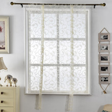 Curtains roman Kitchen curtains floral blinds short jacquard sheer white treatments window butterfly curtain door(China)