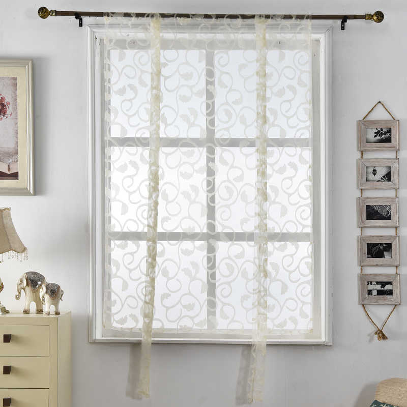 Curtains roman Kitchen curtains floral blinds short jacquard sheer white treatments window butterfly curtain door