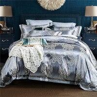 Большая Акция Роскошный шелк Постельное белье Вышивка постельное белье сатин кровать Простыни набор жаккардовые постельное белье Бесплат