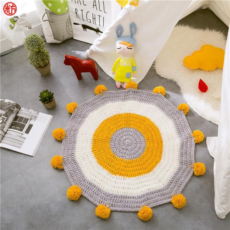 Décor à la main faire tricoté tapis de sol 80*80 cm anneau enfants jouer tapis acrylique tapis couverture chambre salon table décor
