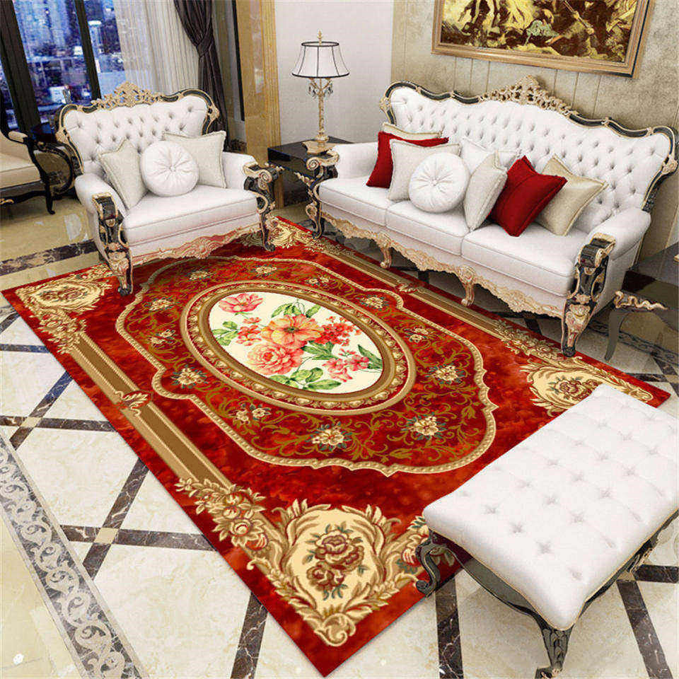 Europe Classic Style Red Flora Carpet In The Living Room Royal Palace Pattern Rugs And Carpets For Bedroom Blue Large Carpet