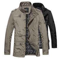 2019 冬のメンズジャケットとコートレジャー防風厚く暖かいジャケットメンズロングトレンチコートパーカー服ドロップシッピング