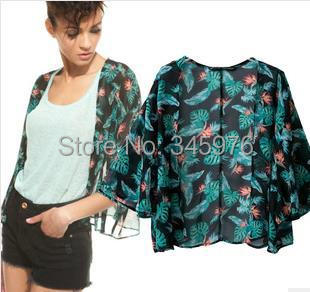 Free shipping 2014 New arrival women loose chiffon blouse Green color printed cardigans chiffon tops ladies short kimonos jacket
