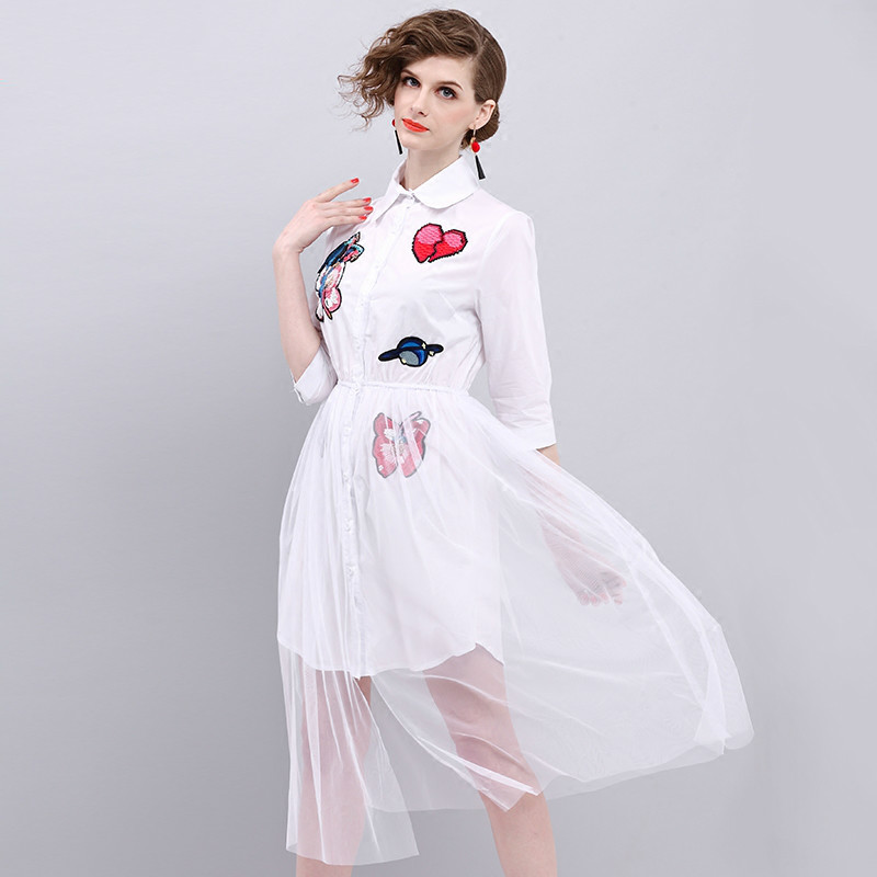 Buy Cheap European Style Gauze Splicing Long Summer Dress 2017 New Beading Embroidery Lapel 3/4 Sleeve White Casual Dresses