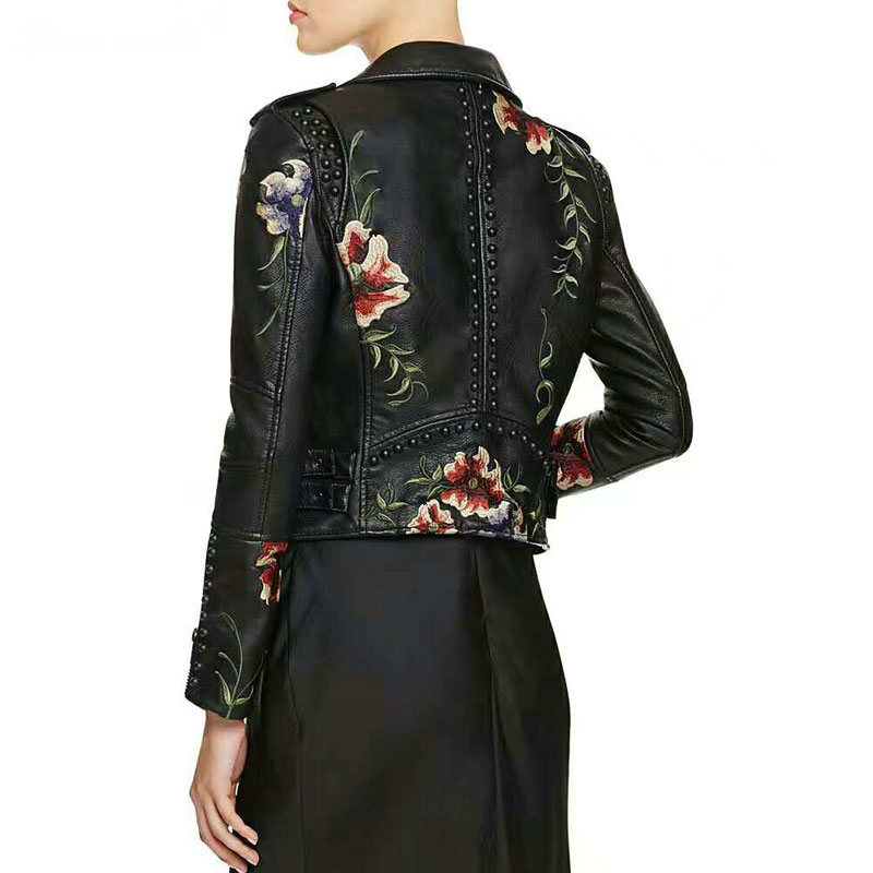 2019 Women Floral Print Embroidery Faux Soft Leather Jacket Coat Turn down Collar Casual Pu Motorcycle
