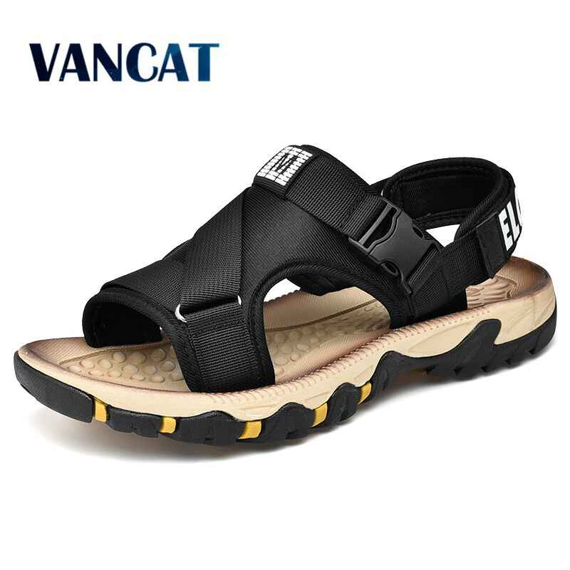 Men's Beach Sandals 2019 New Summer Gladiator Man Outdoor Shoes Roman Men Casual Shoe Flip Flops Fashion Slippers Big Size39-47