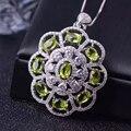 Lujoso colgante redondo de la flor con 9 unids natural olivino esterlina del sólido 925 de plata collar pendiente de la muchacha verde olvince colgante