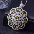 Luxurious round flower pendant with 9 pcs natural olivine solid 925 sterling silver necklace pendant girl green olvince pendant