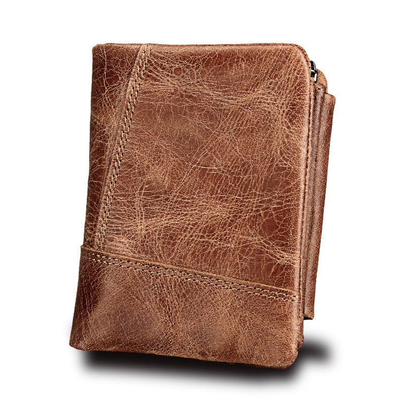Genuine Crazy Horse Leather Men Wallets Vintage Trifold Wallet Zip Coin Pocket Purse Cowhide Leather Wallet For Mens SD Card