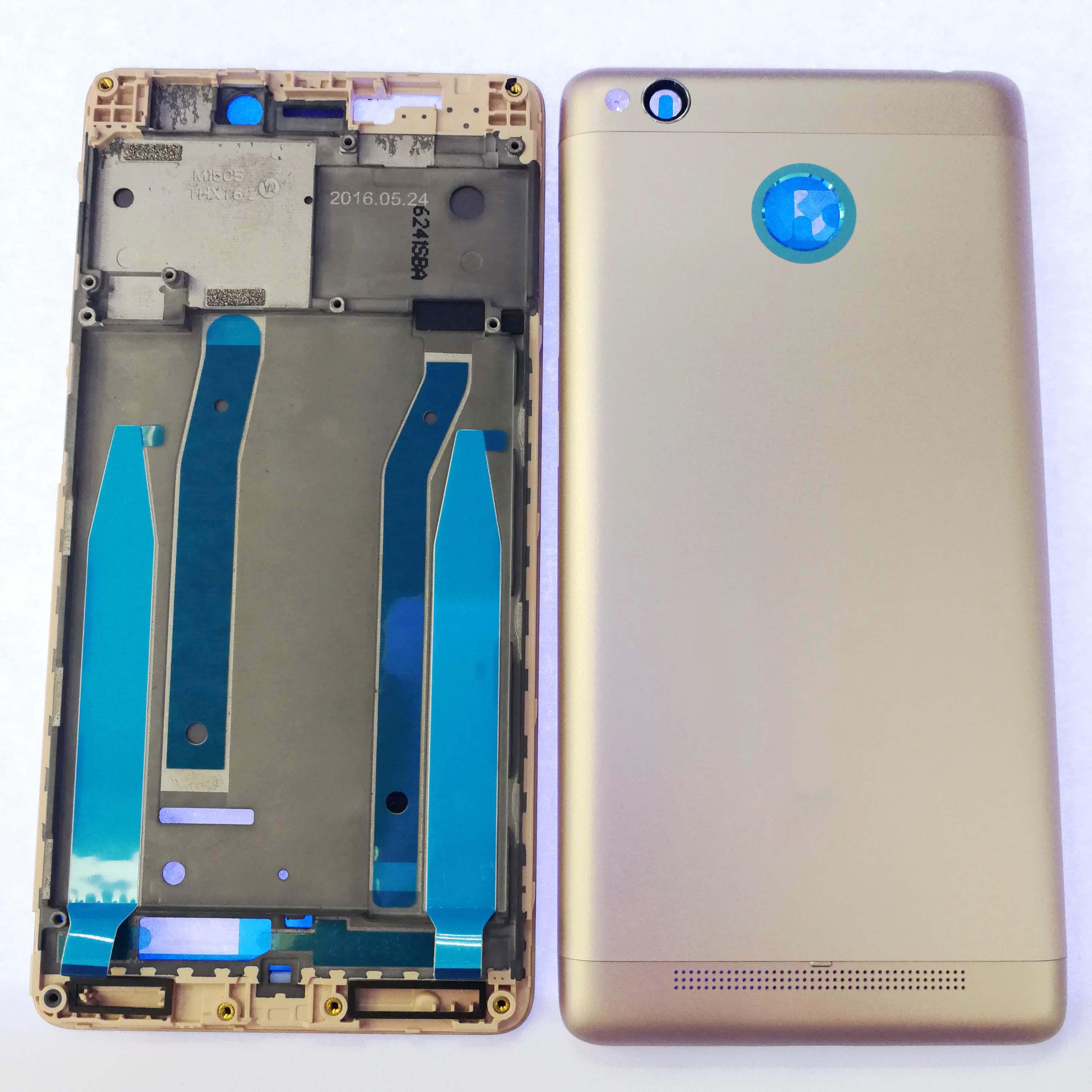 imágenes para Para Xiaomi Redmi 3, 3 S, 3 Pro Completo Trasero de Vivienda Volver Batería cubierta de la Puerta + LCD Frontal Del Bisel Del Capítulo Con El Botón + Sticker