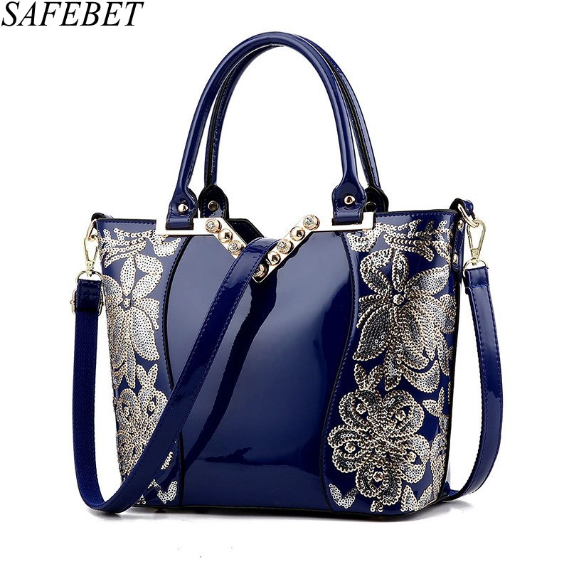 SAFEBET Brand Fashion Women Sequin Embroidery Luxury Patent PU Leather Famous  Designer Handbag Women Messenger bag Shoulder Bag patent leather handbag shoulder bag for women