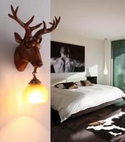 A1 Unique personality A1 retro wall deer antlers creative cafe room aisle lamp head animal head decoration Wall Lamps